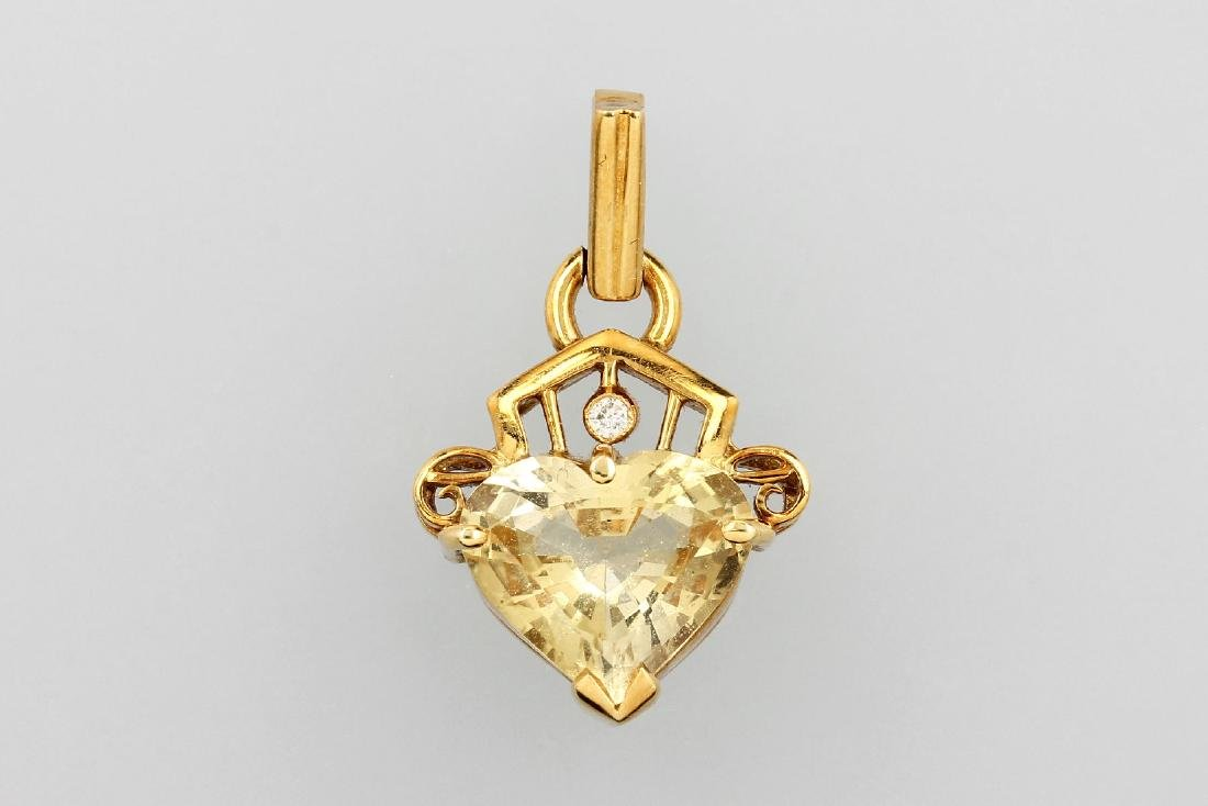 18 kt gold pendant with citrine and diamond