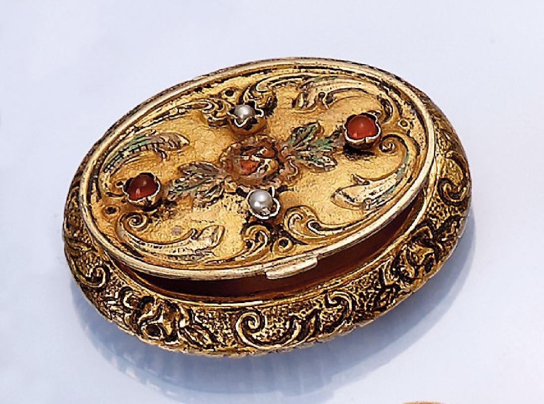 Pill box, Austria approx. 1880/90, silver gilded