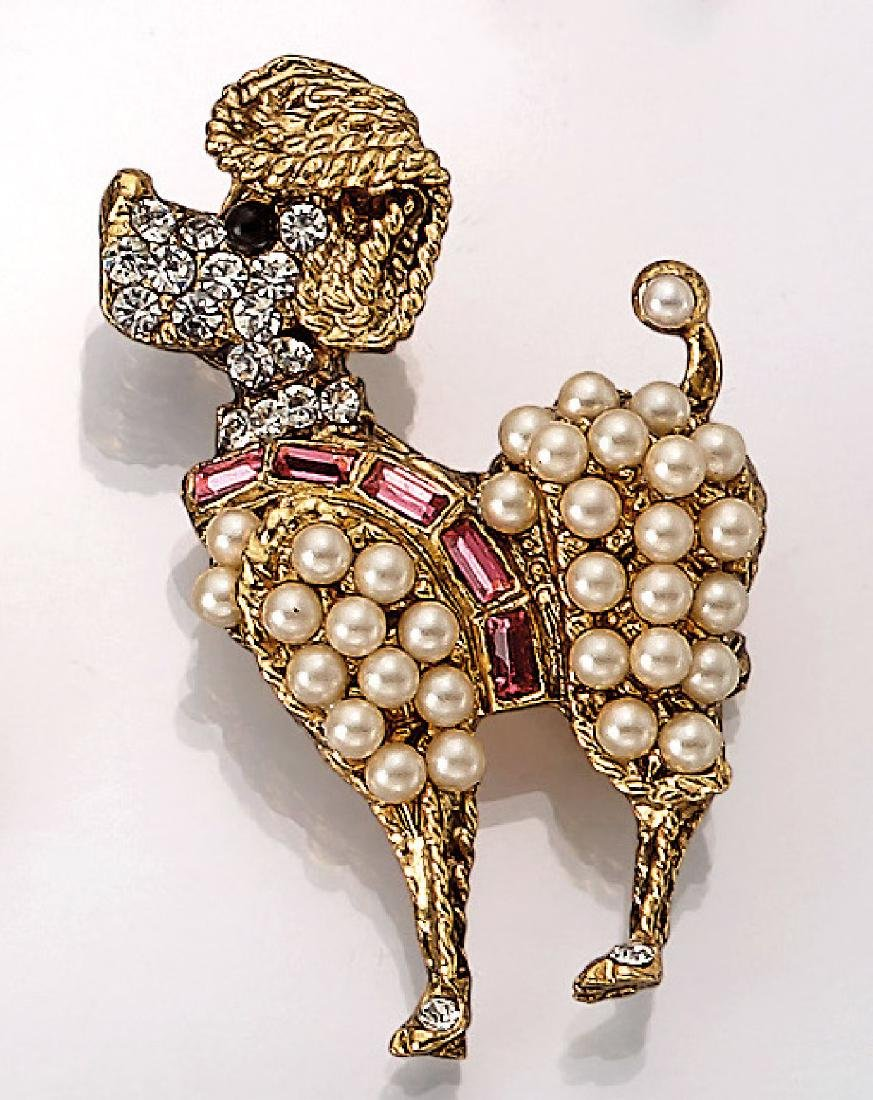 Brooch 'poodle' with rhine stones and pearls