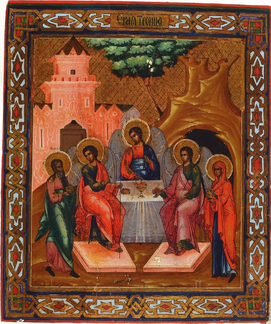 Icon, Russia, 2nd half of 19th century, Holy Trinity in