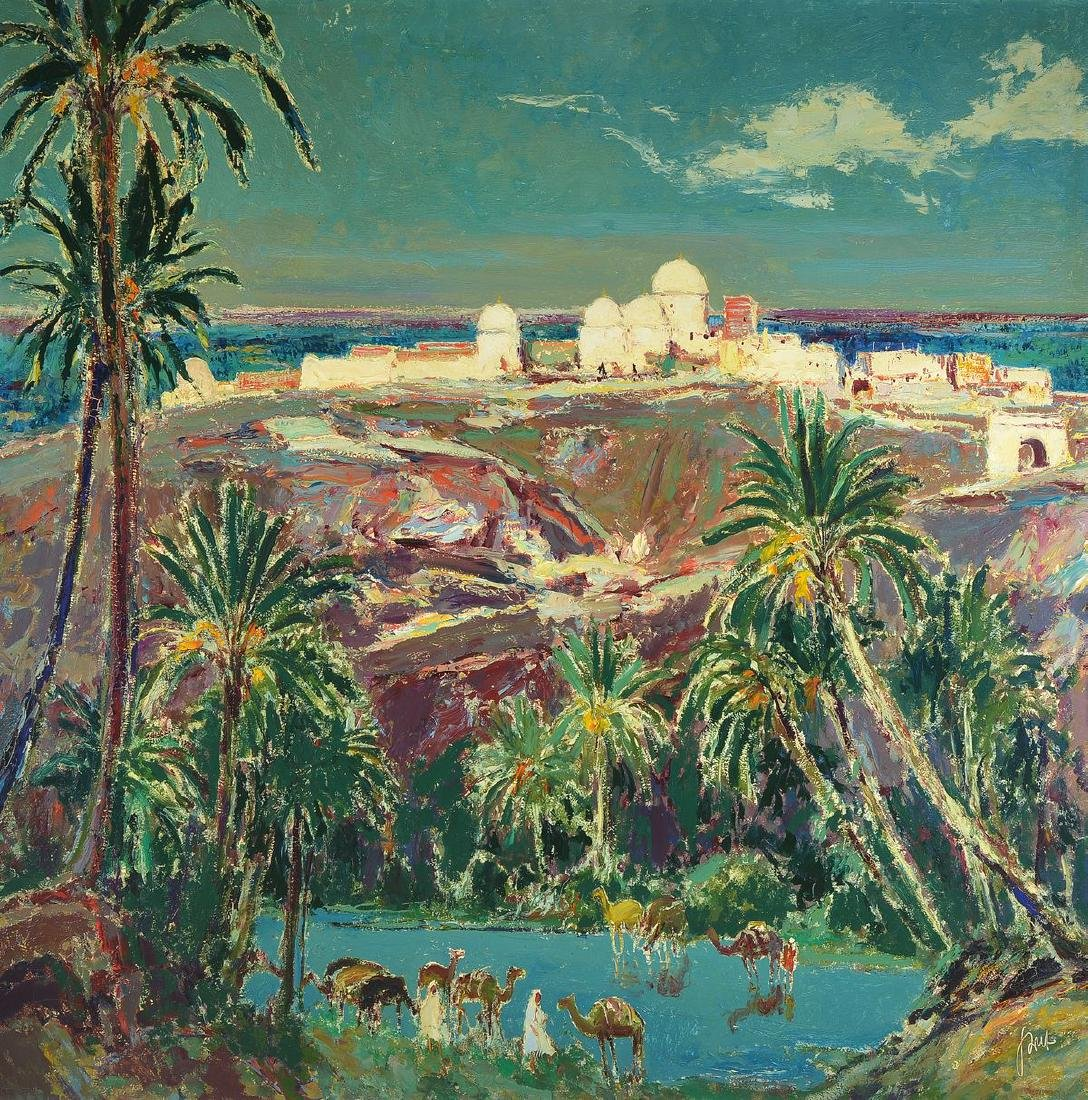 Karl Graf, 1902-1986 Speyer, Oasis in Tunisia,oil /