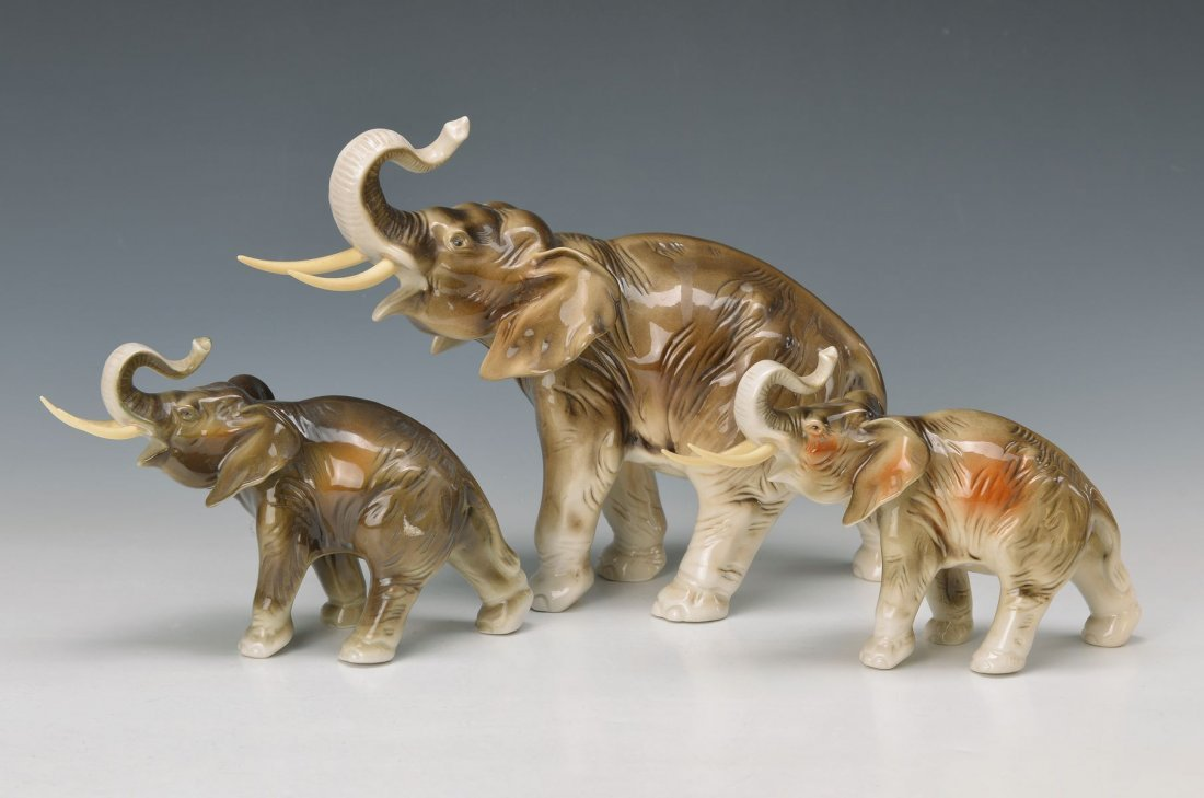 three elephants, Royal Dux, Middle of 20th c., ceramic