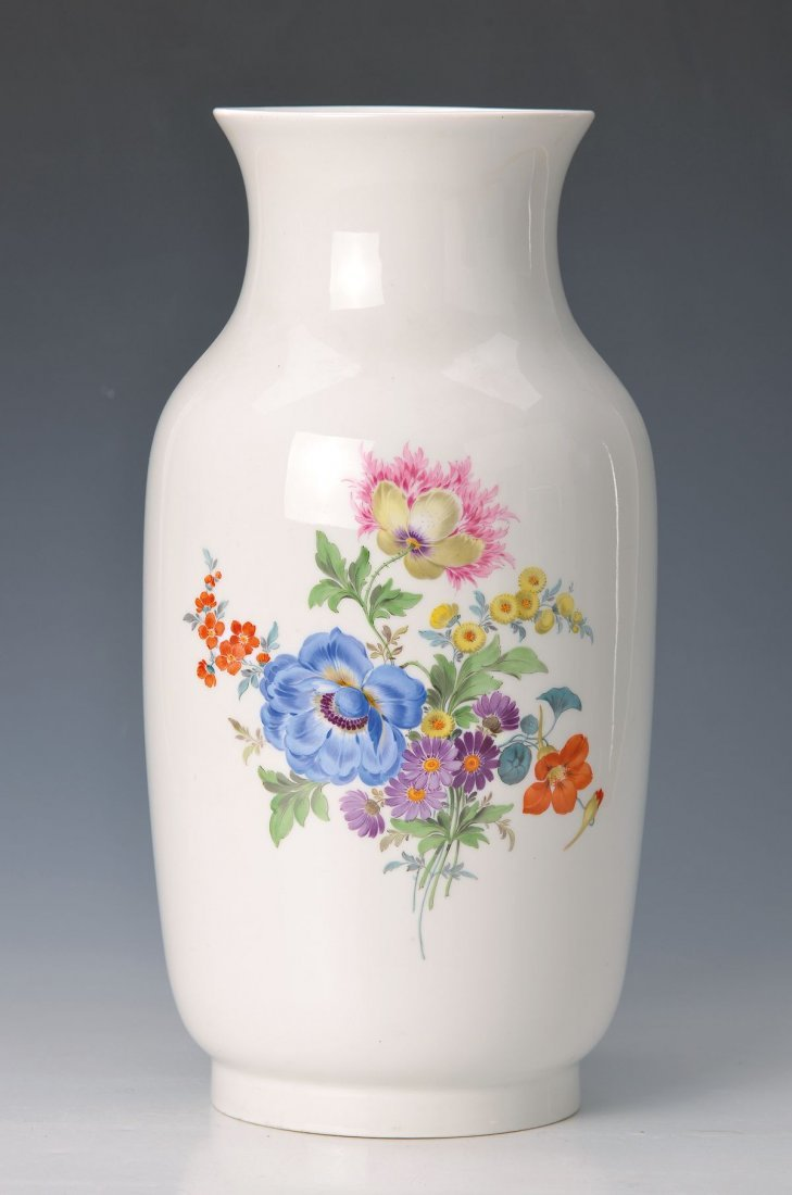 vase/lamp stand, Meissen, 1930s, large flower painting