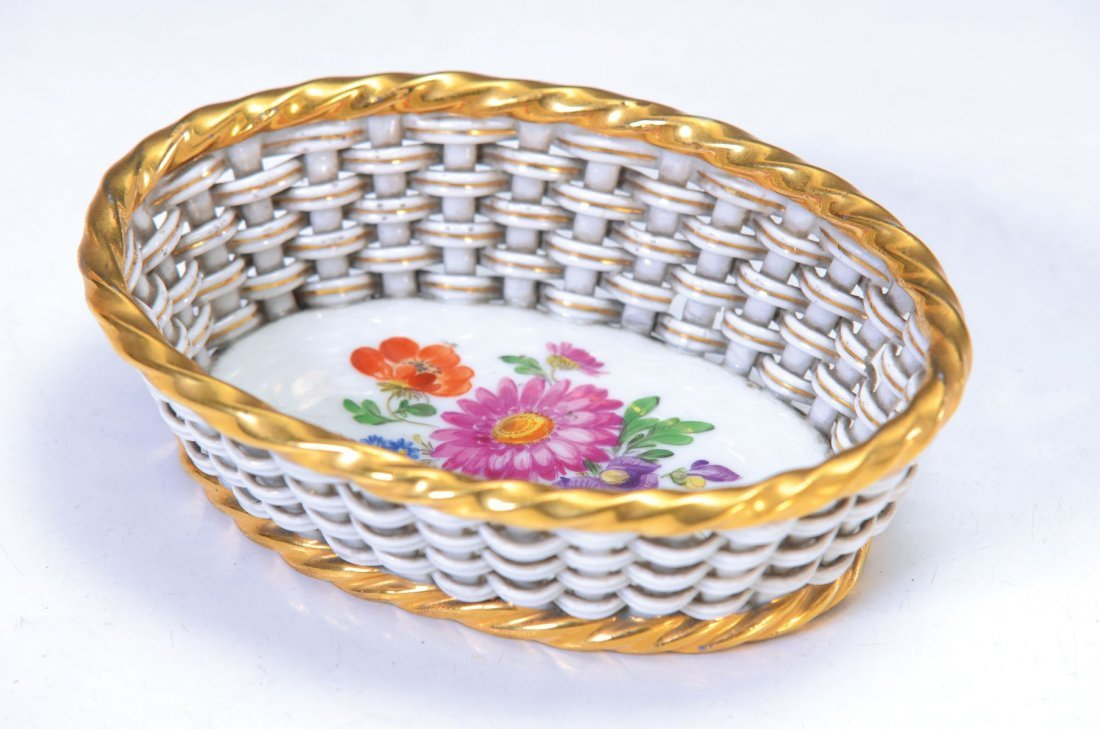 basket bowl, Meissen around 1870/80 porcelain,fine
