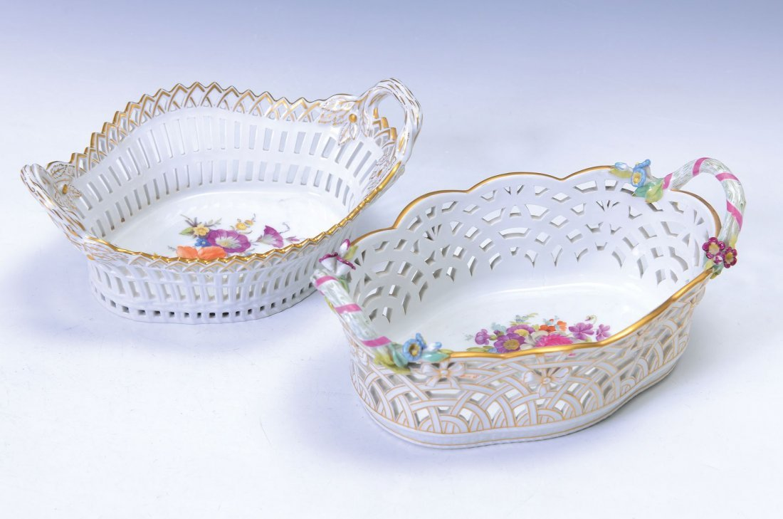 two handle bowls, KPM Berlin, around 1910, opulent