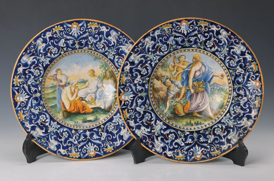pair of faience-wall plates, probably Italy, after