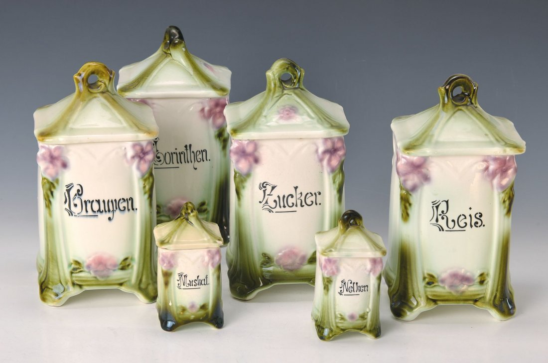 kitchen set, German, around 1900, stoneware, embossed