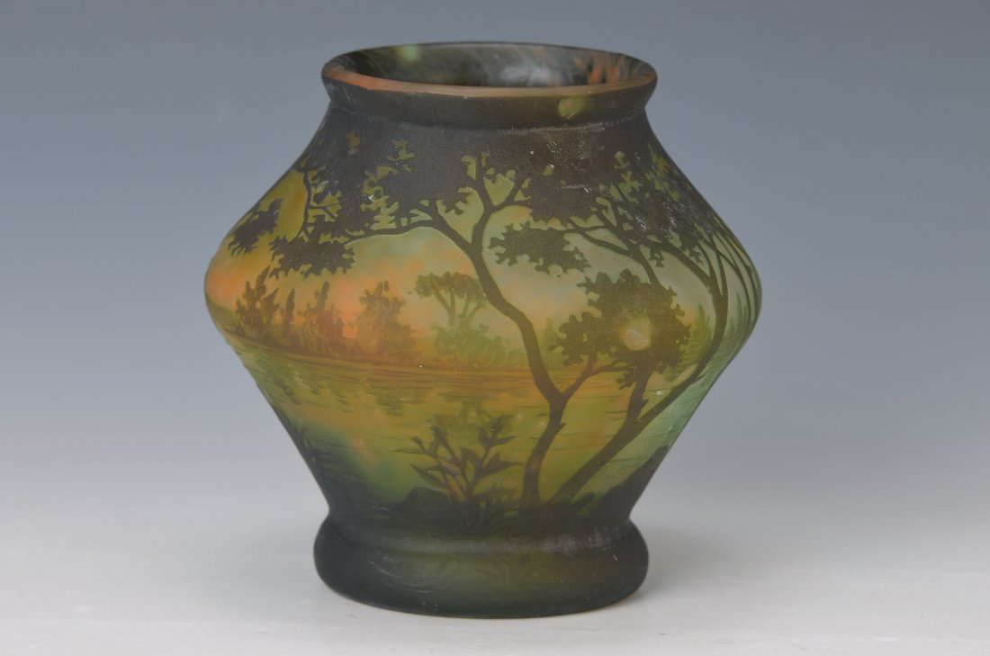 vase, Daum Nancy, around 1905-10, waterside, colourless
