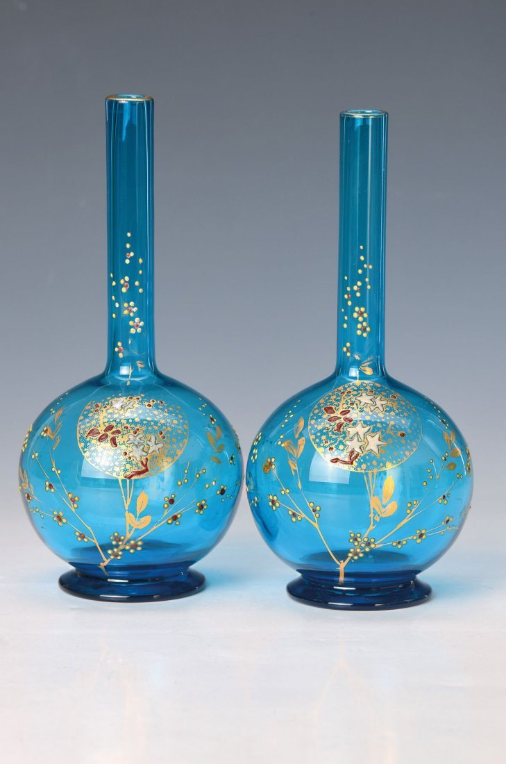 two Soli-Fleur vases, Baccarat, around 1890, Japanese
