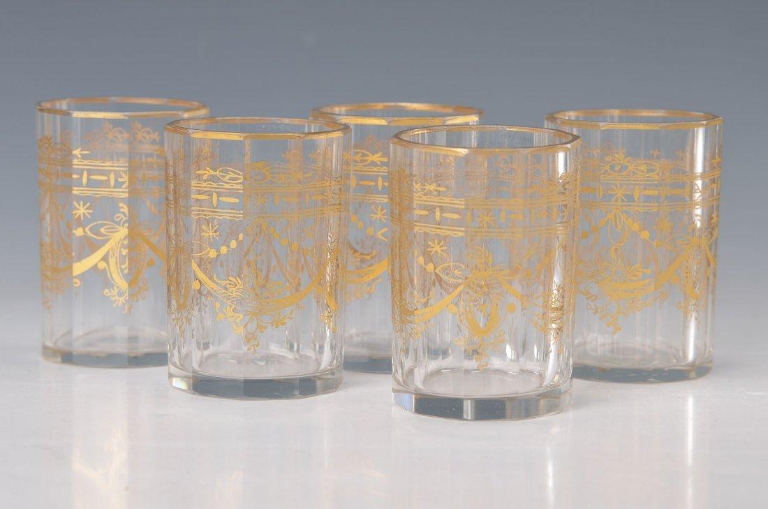 5 glasses, probably Austria, around 1900, 10- fold