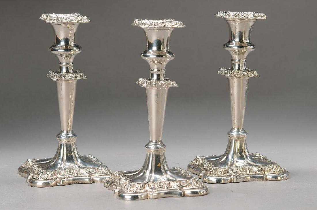 three Candlesticks, England, around 1880, silver