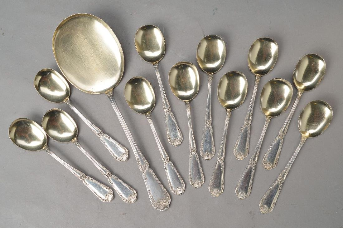 Ice cutlery, German, around 1900, 800 Silver, 12 small