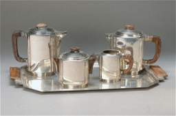 coffee and tea set France 1930s silver plated