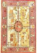 Fine Silk Qum Erami Pictorial Rug Signed Four
