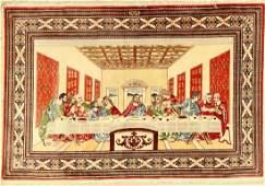 Fine Silk Qum 'Shirazi' Pictorial Rug (Signed)'Last