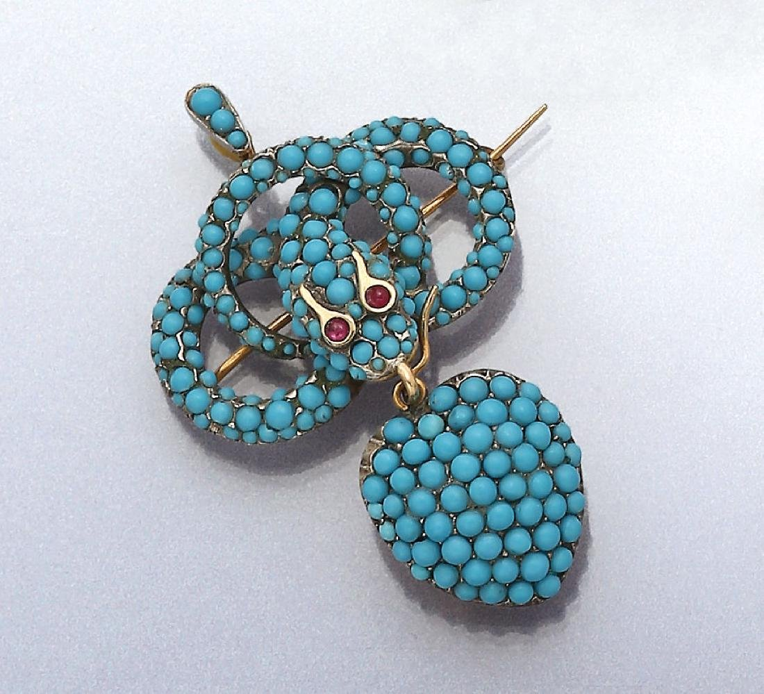 Brooch/Pendant 'snake' with turquoises