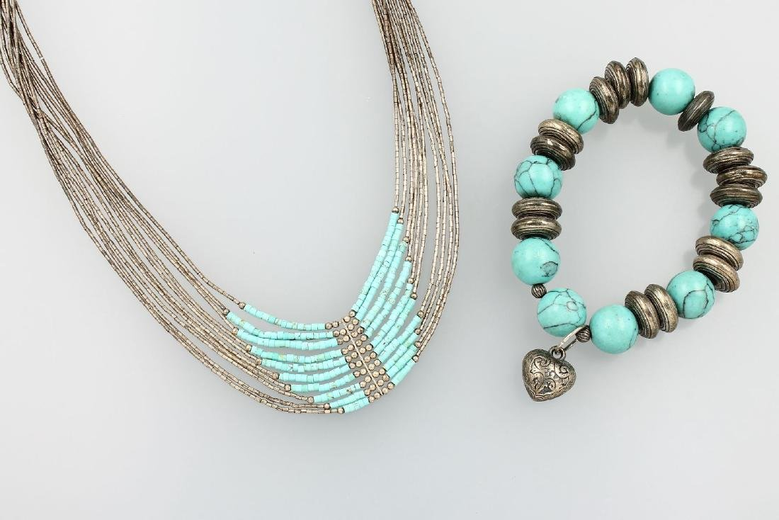 Jewelry set with turquoises: 10-row necklace with