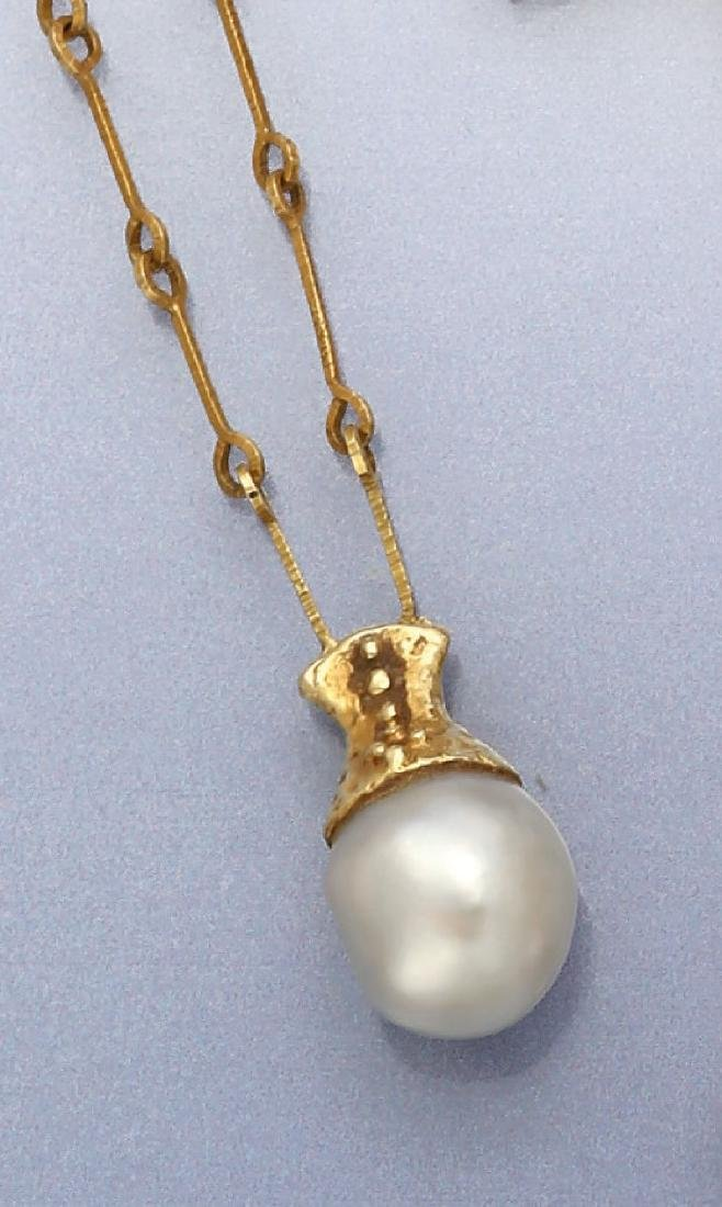 14 kt gold necklace with cultured south seas pearl