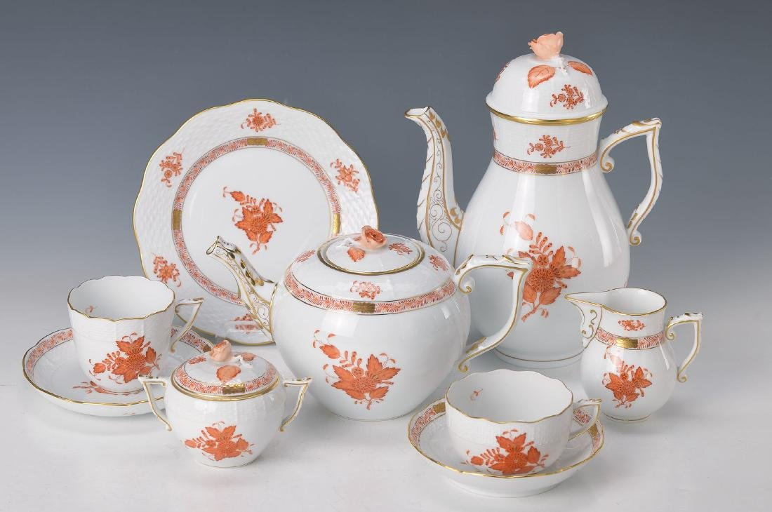 coffee- and tea set, Herend, 20th c., Apponiy in coral,