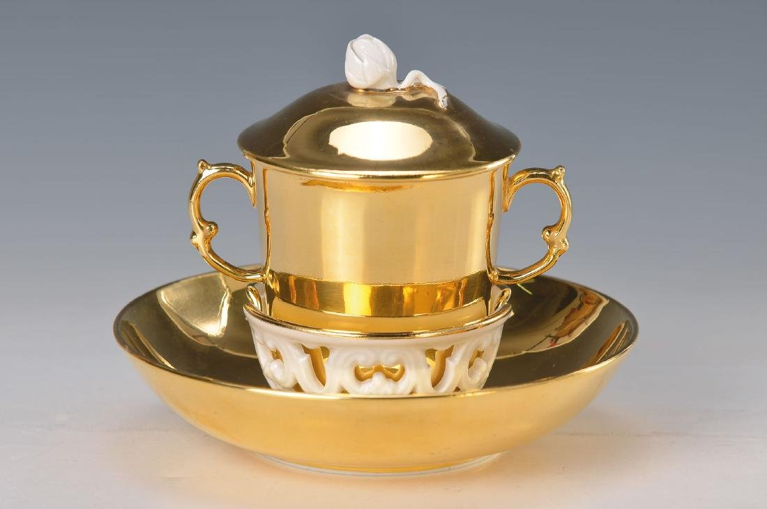 Chocolate cup with saucer, Meissen, 20th c., richly