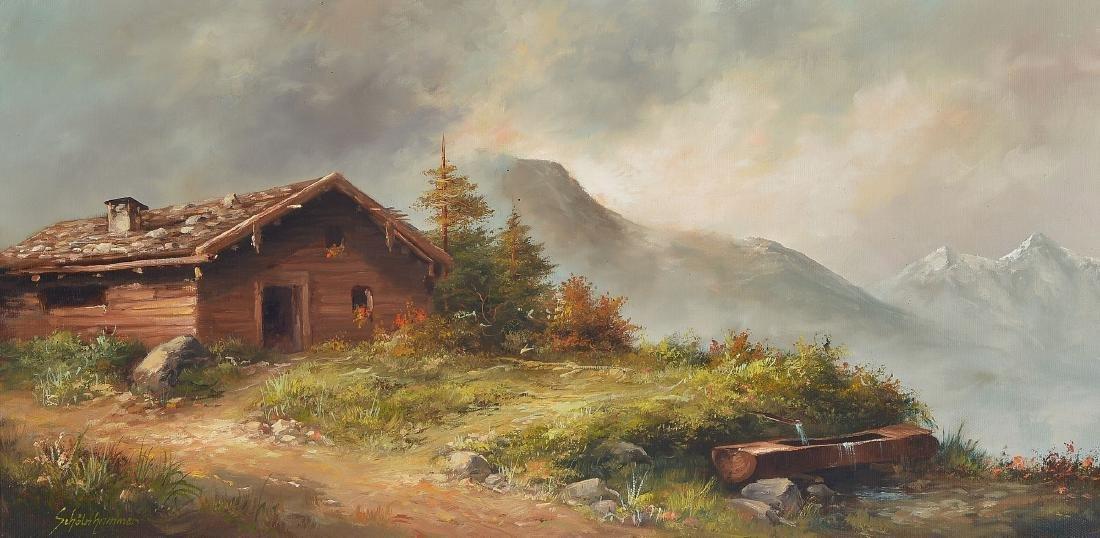 Heinz Schölnhammer, b. 1940 Vienna, hut in themountains