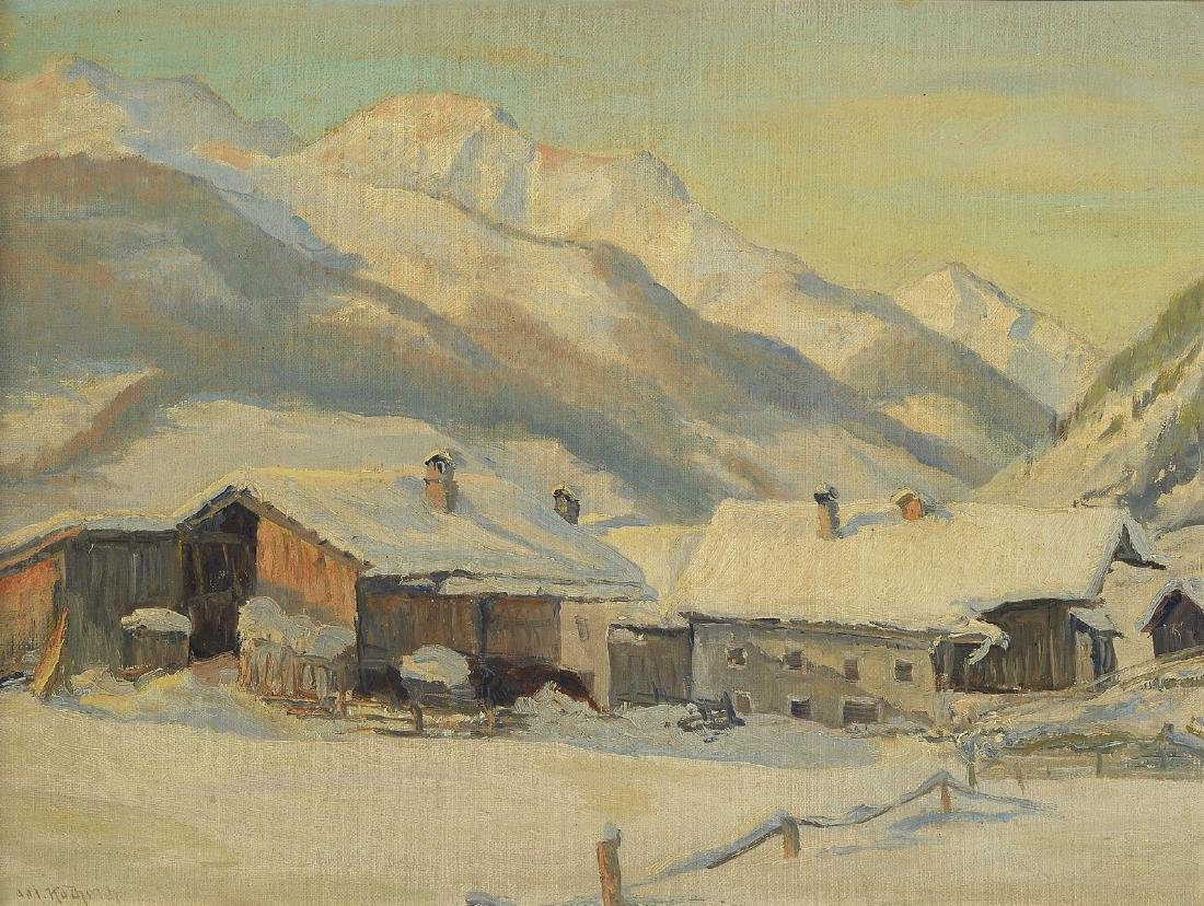 Josef Koch, Munich School 1930s, winter landscape in