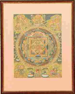 Thangka 50 years old Tibet approx 42 x 31 cm