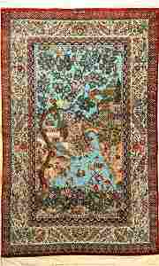 Very fine silk Qum Rug, Persia, approx. 40 years, pure