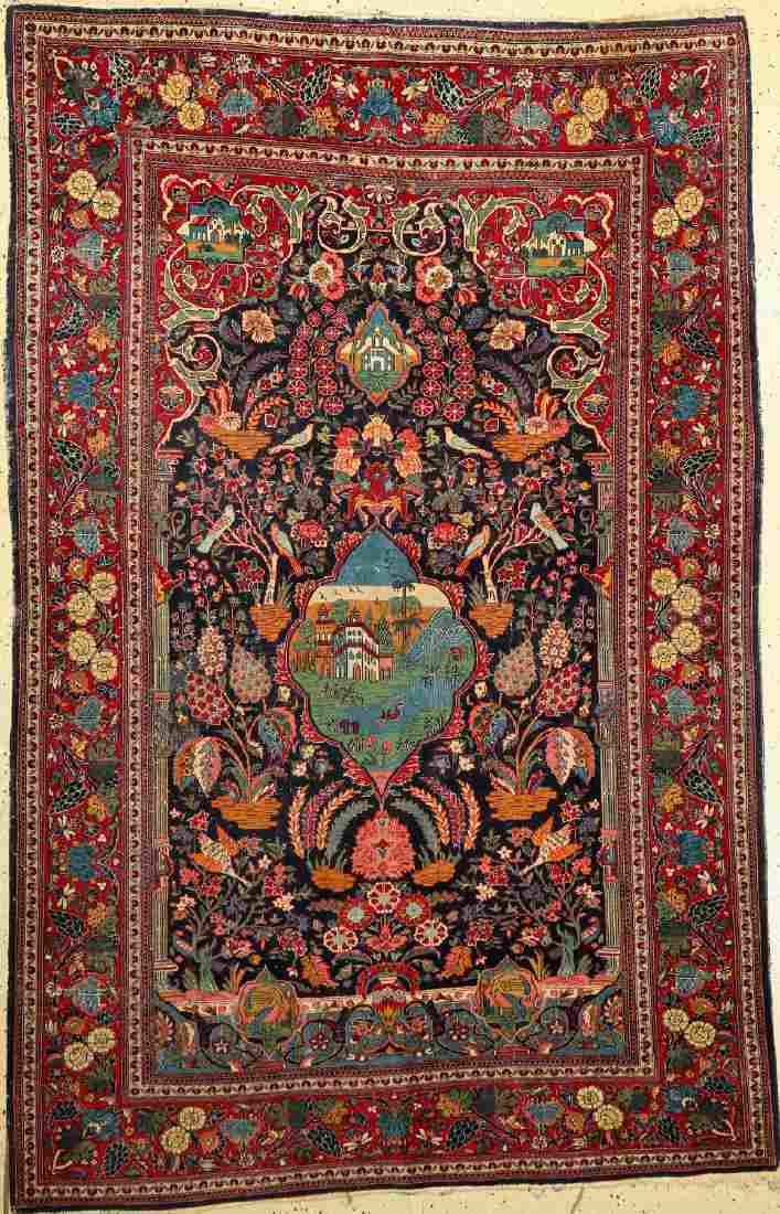Keschan old Rug, Persia, around 1930, wool on cotton
