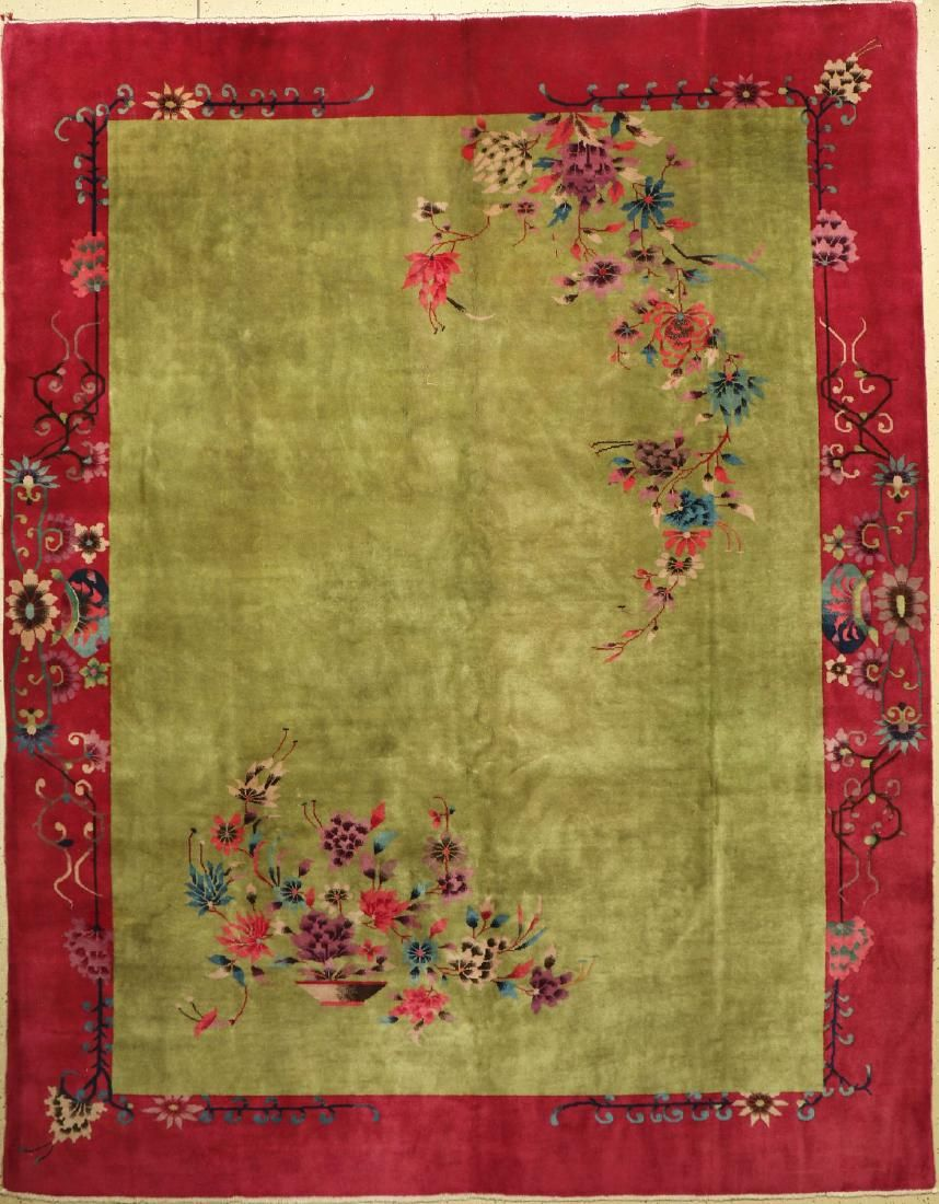 Green Beijing old Carpet, China, around 1930, wool