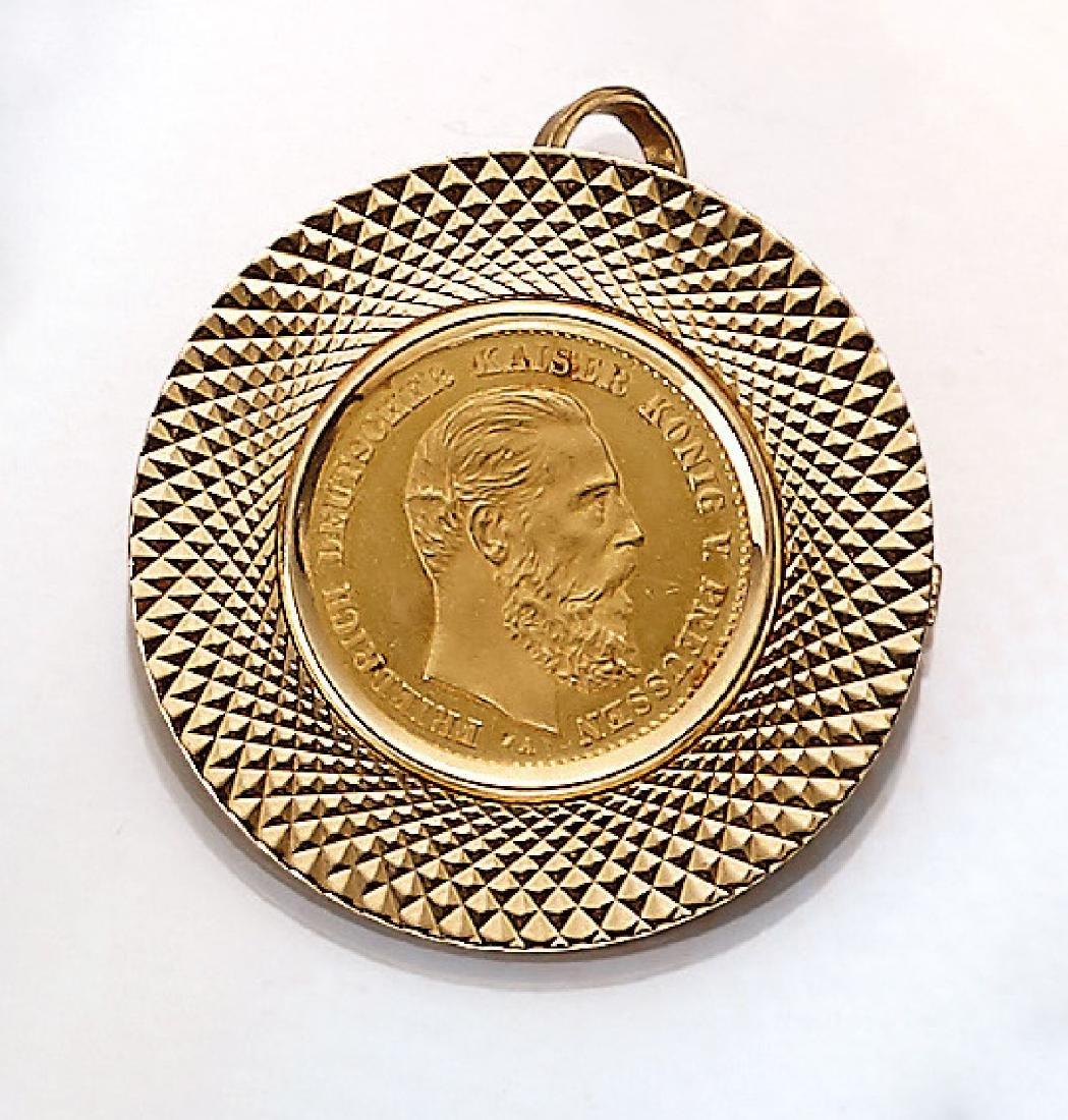 Coin pendant/-brooch, 10 Mark, German Reich, 1888