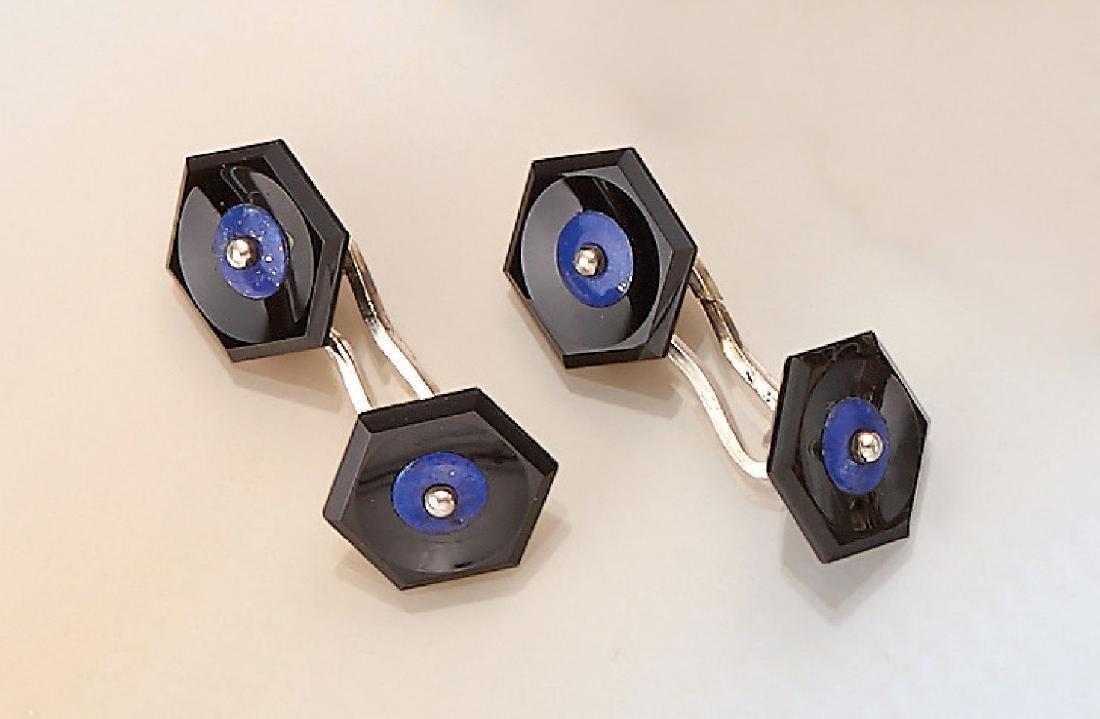 Pair of cuff links with onyx and lapis lazuli