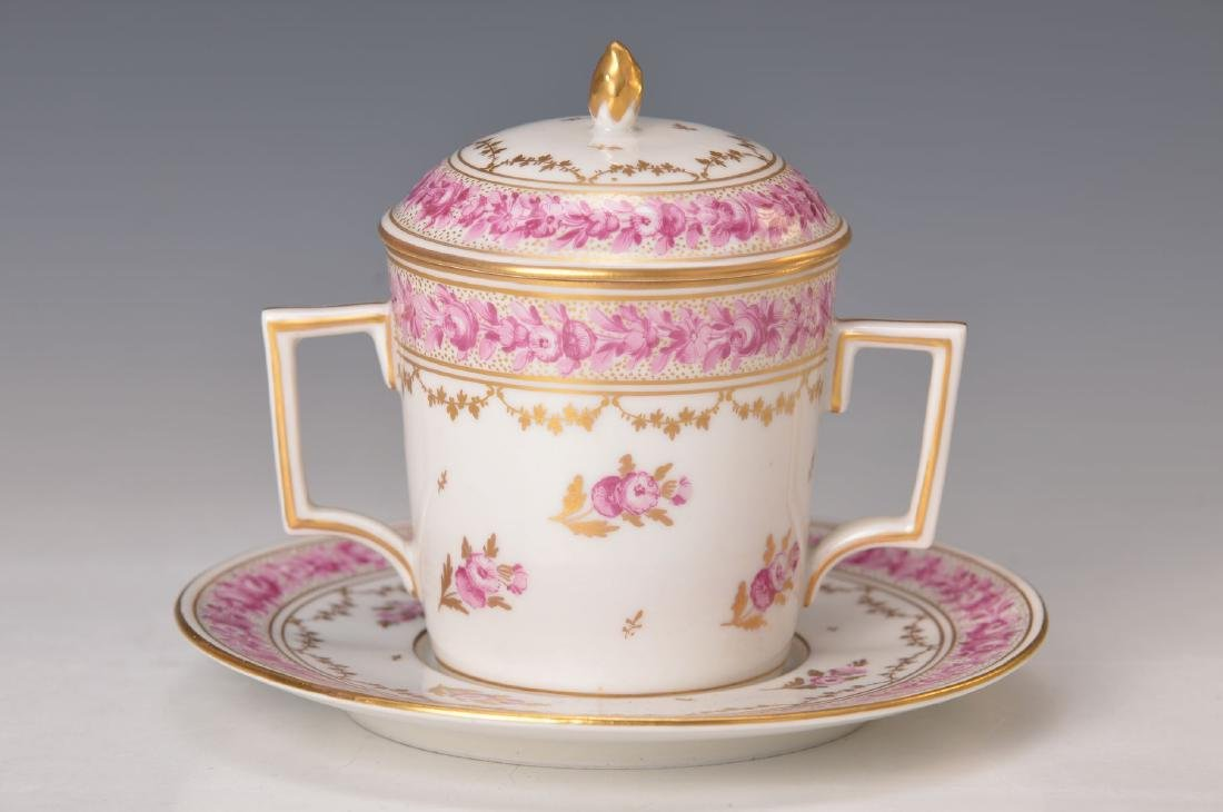 Bouillon cup with saucer, Nyon, around 1900, purple