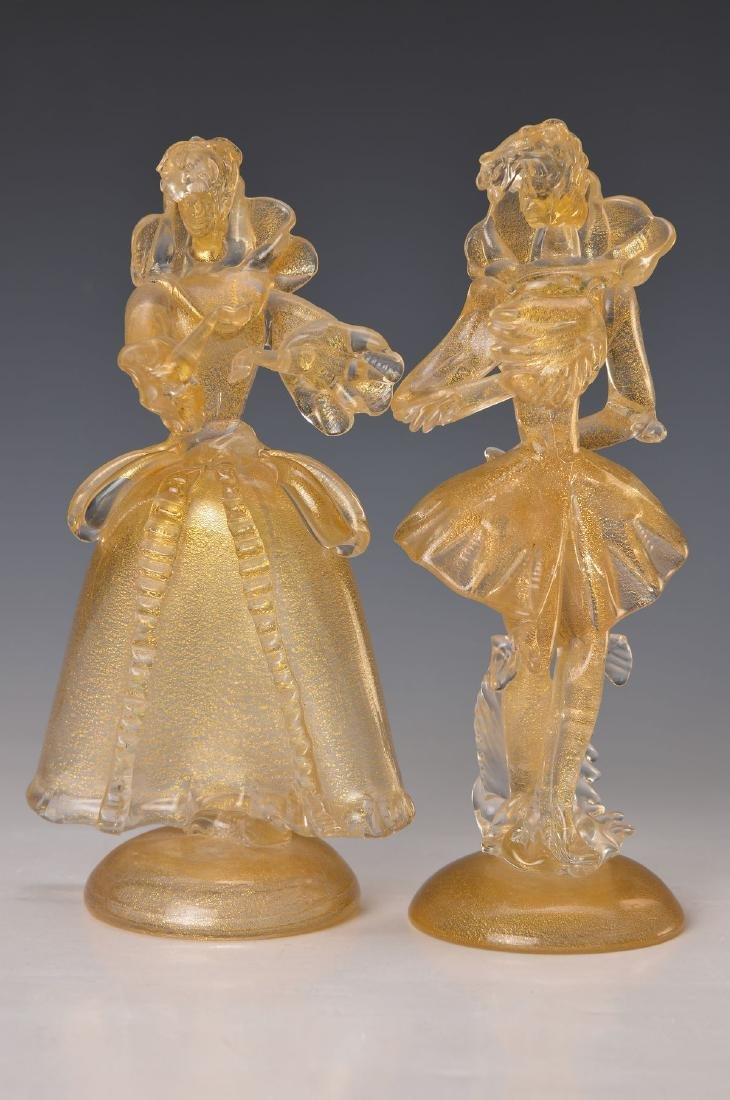 couple of Glass sculptures, Murano Italy, 20thc