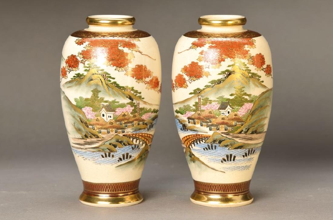 pair of vases, Japan, around 1930, Satsuma, earthenware