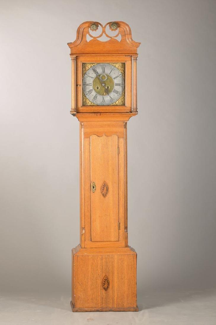 longcase clock around 1820, England, oak housing with