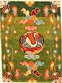 Unique Green Tibetan Shigatse 'Goyul Rug' (Stork),