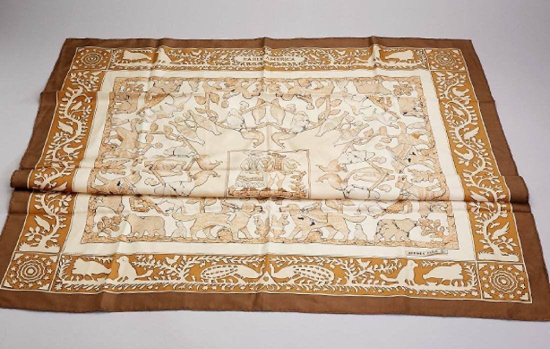 HERMES square, 'Early America', 100 % silk