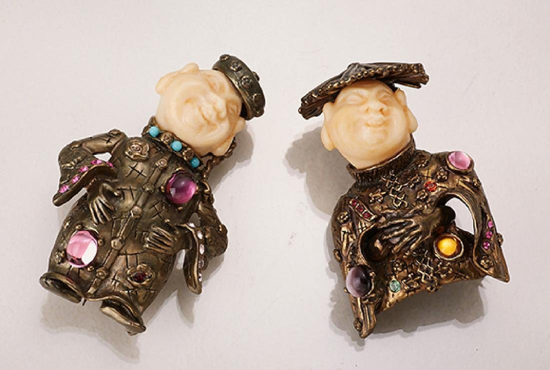 Brooch and pendant 'chinese' with rhine stones and