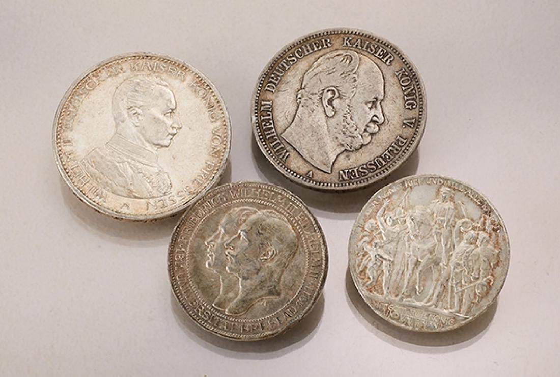 Lot 4 silver coins, German Reich
