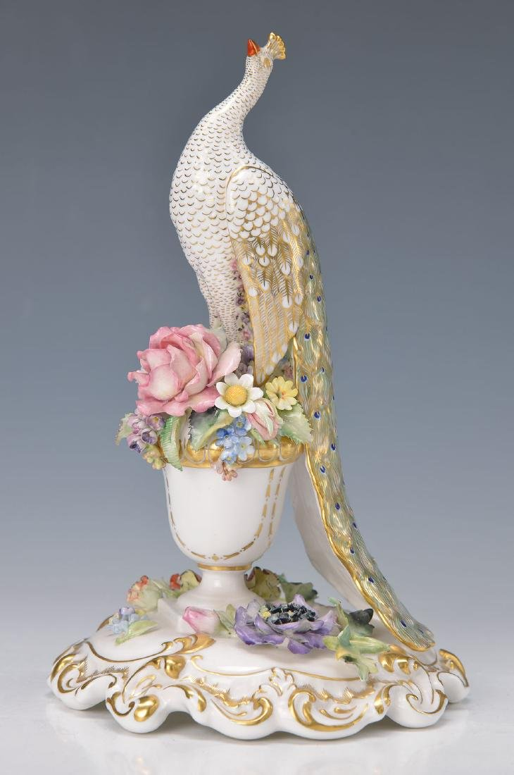 figurine, England, 20th c., peacock on flower