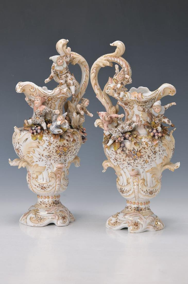 couple of jugs, Volkstedt, around 1910, with fully