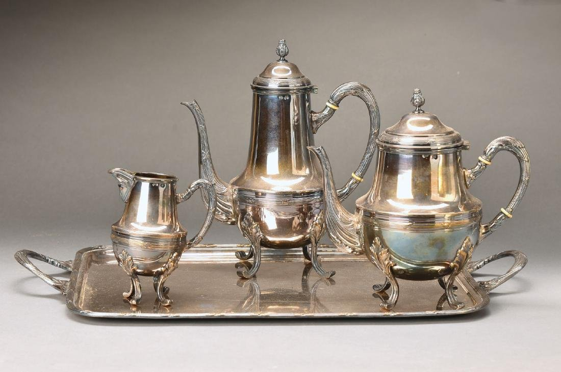 coffee- and tea set, France, brass silver plated
