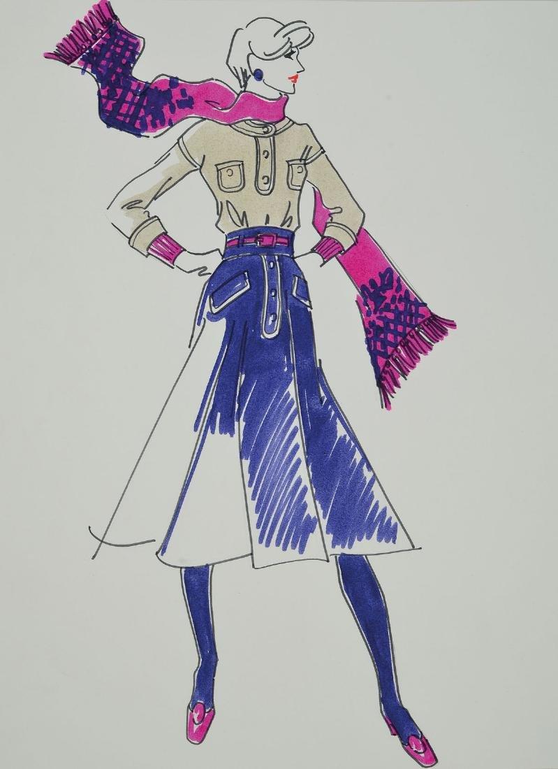 Karl Lagerfeld, b. 1933 Hamburg, fashion drawing