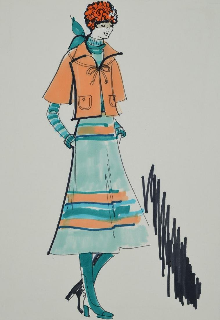 Karl Lagerfeld, b. 1933 Hamburg, fashion drawing