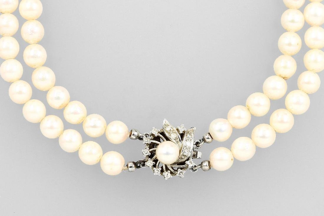 2-row necklace with cultured pearls