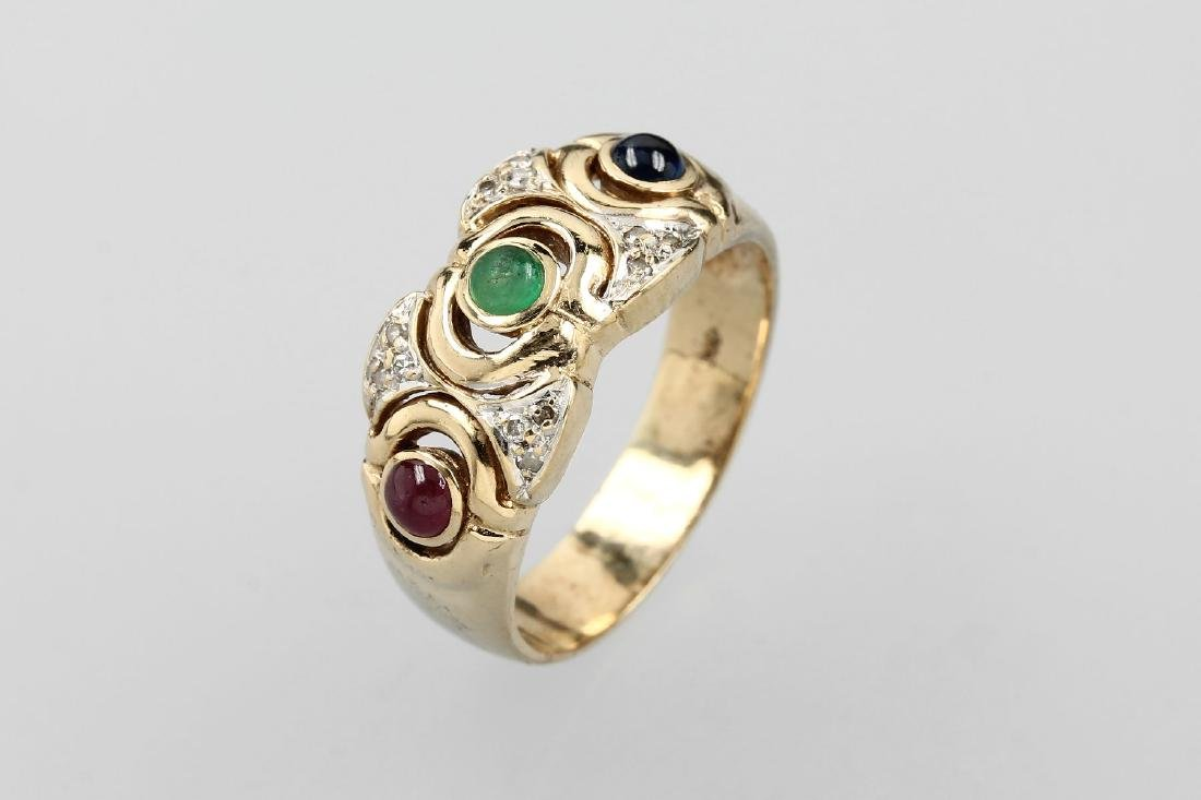 14 kt gold ring with coloured stones and diamonds