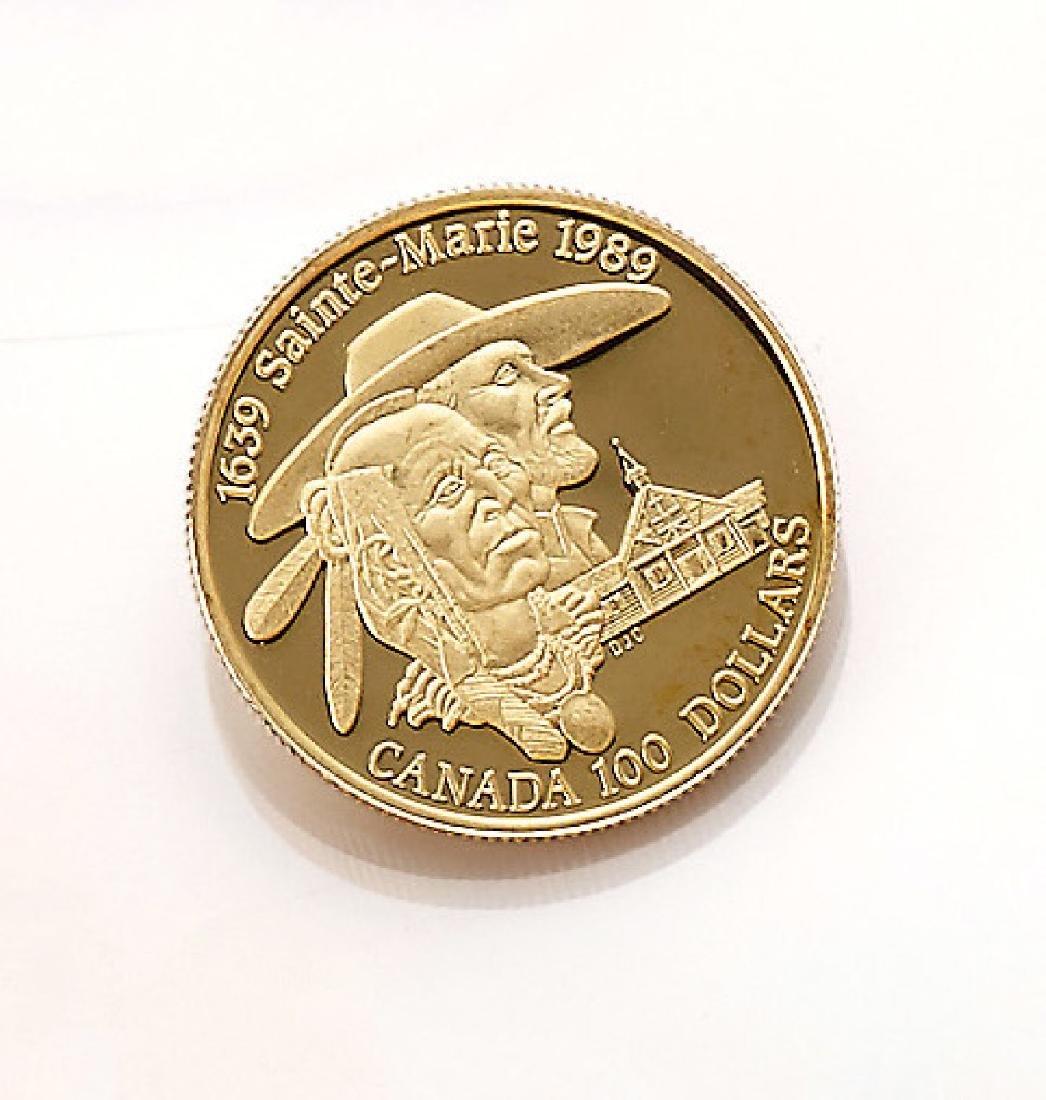 Gold coin, 100 Dollars, Canada, 1989