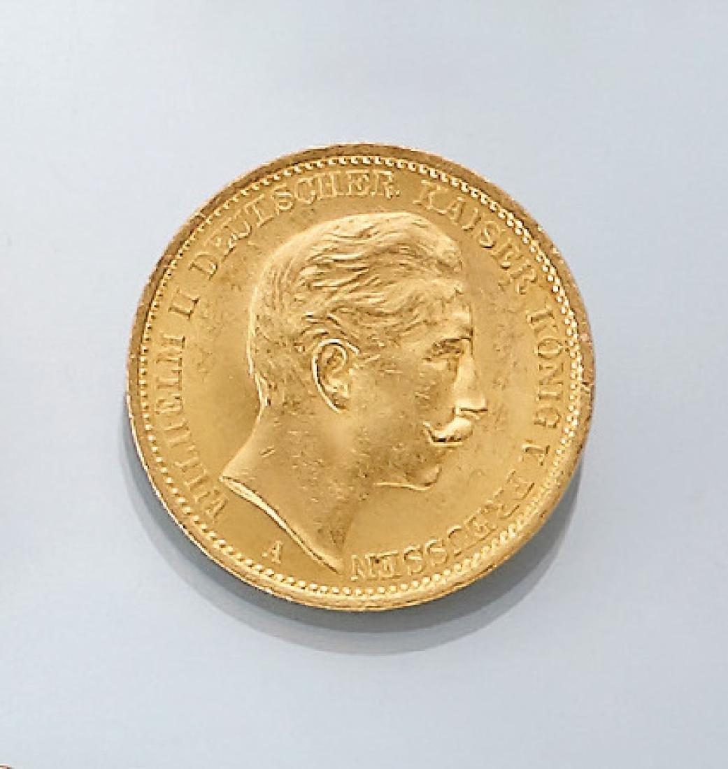Gold coin, 20 Mark, German Reich, 1908