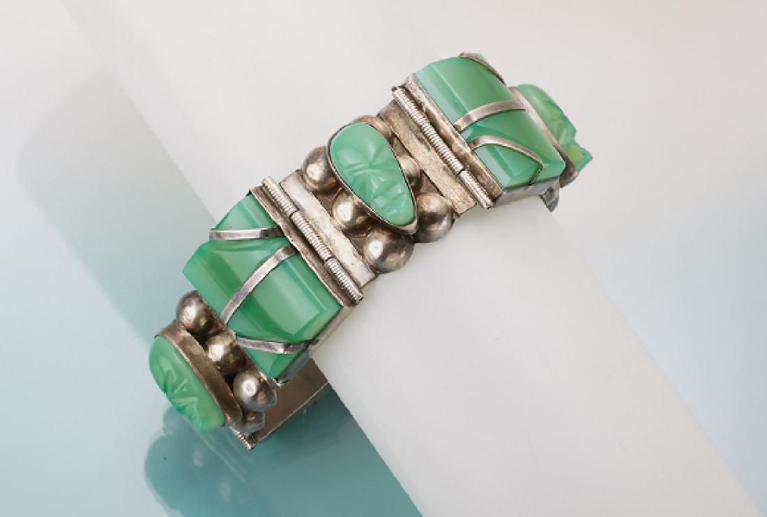 Bracelet with chrysoprase, Mexico 1960s